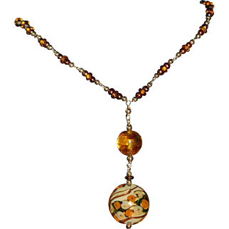 Amber, Pearl and Venetian Glass Lavalier with 14 karat Gold Filled
