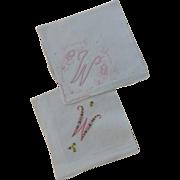 """VintageTwo Hankies Letter """"W"""" Monogram"""