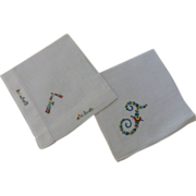 "Hankies Two Monogram ""F"" Embroidered"