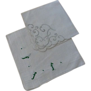 "Vintage "" F  ""Monogram Hankies Pair Green & White"
