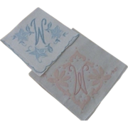 "Vintage "" W "" Monogram Hankies Pair Pink & Blue"