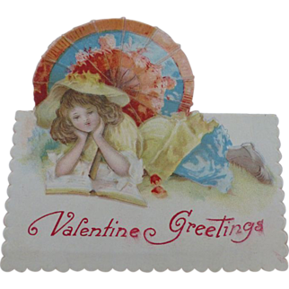 Valentine Card Germany Victorian Girl
