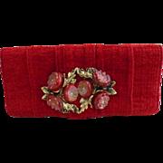 French Red Chenille Clutch Handbag Purse