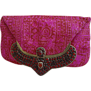 Exceptional Red/Fuchsia Handbag Purse Clutch Ornate Frame 1950's