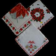 Christmas Hankies ~ 3 Cotton Set ~ Hankie