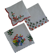 Christmas Hankies Hankie ~Set of 3 ~ Christmas Caroliers, Candle & Poinsetta Designs