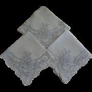 Hankies European Embroidery White Set of Three