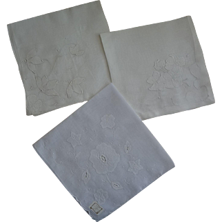 Hankies White Three Large Beautiful