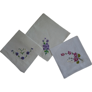Hankies Violets White Background
