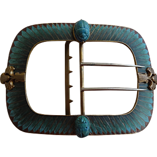 Egyptian Revival Plique a Jour Belt Buckle Scarab Beetle