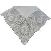 Hankie Bridal Cream French Lace Ribbon & Floral design MINT - Red Tag Sale Item