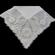 Hankie Bridal Cream French Lace Ribbon & Floral design MINT