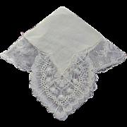 Hankie Bridal Cream Color Mint Dramatic Corners - Red Tag Sale Item