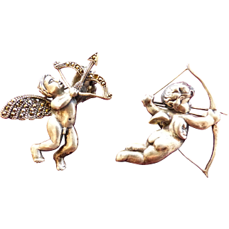 Cupid Pins TWO Arrows Silver Tone Metal 1950's