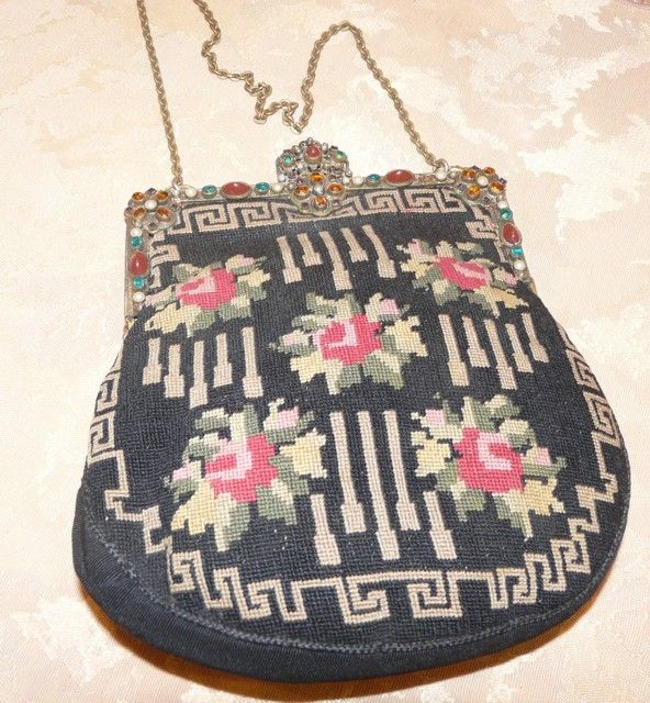 Art Deco Petit-Point Handbag With Elaborate Jeweled Frame
