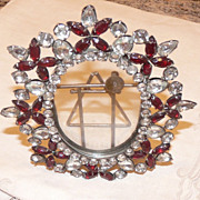 1930's Rhinestone & Glass Picture Frame BEAUTIFUL