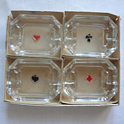 Playing Card Glass Ashtrays