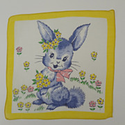 Vintage Childrens Hankie Bunny with Flowers
