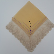 Vintage Pocket Hankie Silk Chiffon French Lace