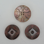Three Vintage Mother Of Pearl Buttons