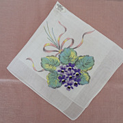 Hankie Embroidered Violets Print Background Burmel Original