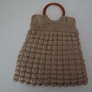 Vintage Finely Crocheted Beige Handbag Round Handles