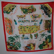 Vintage Puerto Rico Silk Scarf 1950's