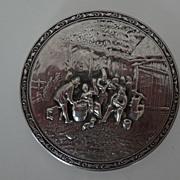 Vintage Dutch Compact & Mirror Set Silverplate Relief Peasant Design