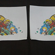 Rare Pair of Astronaut Hankies Vintage