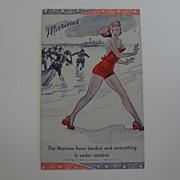 Postcard Comical Marines Landing at Sea ~ Woman Running away~