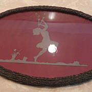 Rare Victorian Wicker Silhouette Vanity Dresser Tray