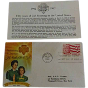 Girl Scout Official First Day Cover 1962 & Insert