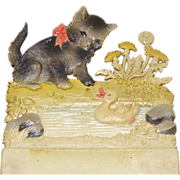 Vintage Advertising Impressed Card~Kitty Cat & Duckling
