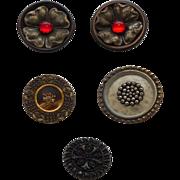 Buttons~Five~Black  Designs ~1910's-1950's