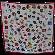 Railroad Companies 100 Emblems Scarf~ 1960's - Excellent condition