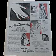Cutex Nail Ad ~Fashions Designers~Schiaprelli Lanvin Lelong Alix