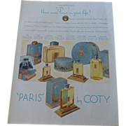 "Coty Perfume Line ""Paris"" Advertisement 1938 Blue Graphics"