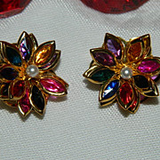 Gorgeous Stained Glass Style Layered Floral Earrings