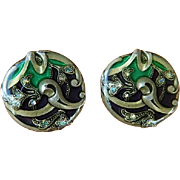 Impressive Enamel with Aurora Borealis Rhinestones Earrings!
