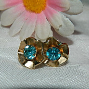 Brilliant Art Deco Blue Paste Earrings ~ Free Ship Item!