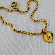 """Vintage Speidel """"B"""" Heart Charm Bracelet ~ Gold Filled"""