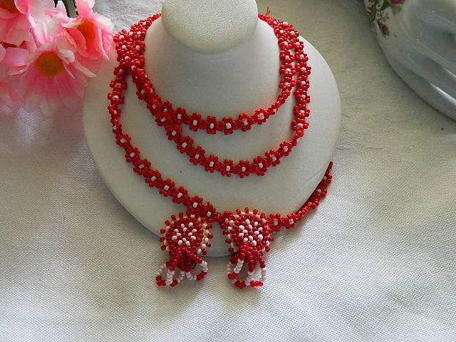 Vintage Native American Cherry Red Seed Bead Necklace & Earring Set
