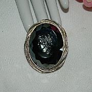Lovely Intaglio Hematite Cameo Brooch