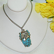 Stunning Delicate Faux Turquoise Pendant ~ Copper Veined ~ Rose Setting