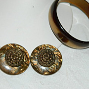 Huge Gorgeous Rootbeer Swirl Lucite Earrings & Bangle Set