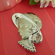"Beautiful ""Page Girl"" Fashionable Lady Head Brooch"