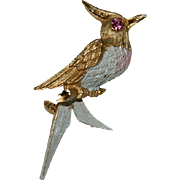Lovely Rhinestone Enamel Cardinal Bird Brooch