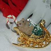 Super Cute Avon Santa Sleigh with Christmas Tree Bear Brooch