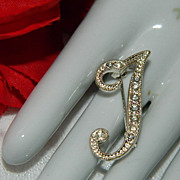 Stunning Vintage Letter J Pin ~ Rhodium Rhinestones