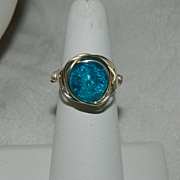 One of  Kind by Jackie O! Robin's Egg Blue Crackle Glass Messy Wrap Ring Sterling Silver